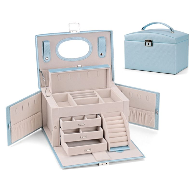 Faux Leather Jewelry Box Organizer 6 Colors Available Vintage Gift Case T4MD