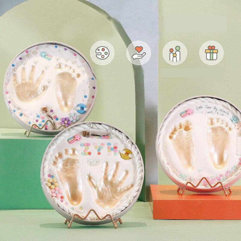 Moda pegada do bebê recém-nascido lembrança cuidados com o bebê secagem de ar argila macia diy bebês mão pé impressão presente do bebê quadro da foto do bebê