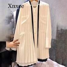 Женское платье с длинным рукавом белое элегантное плиссированное