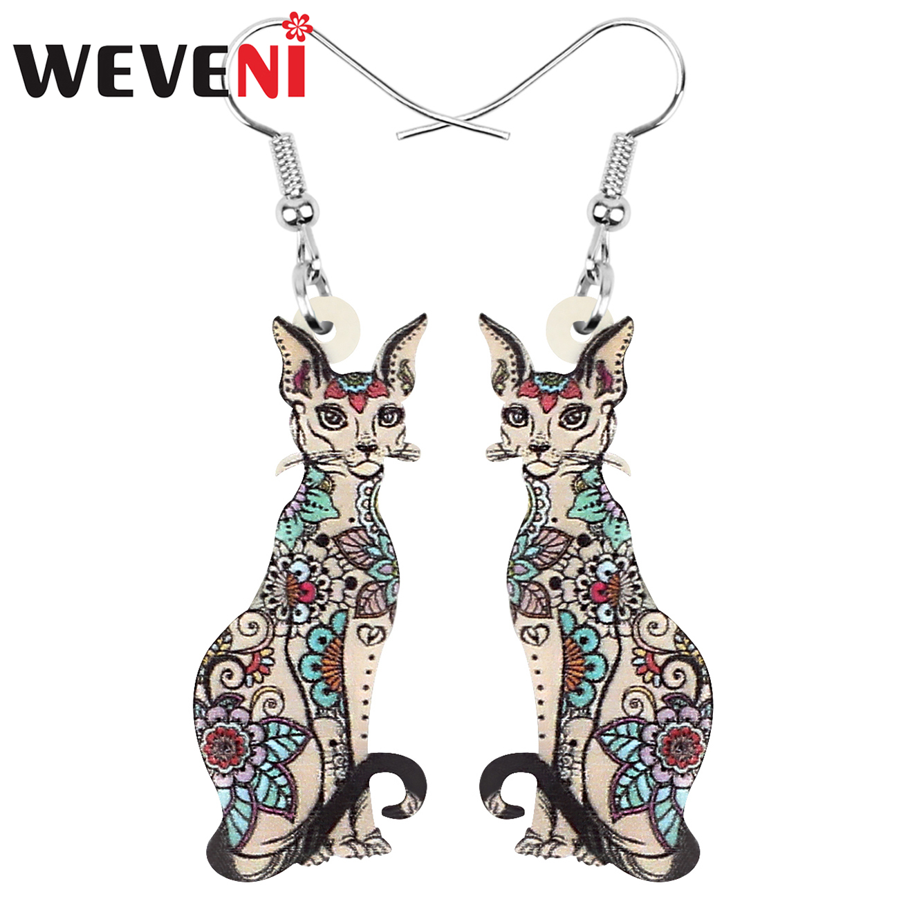 WEVENI Acrylic Canadian Hairless Cat Earrings Floral Cute Kitten Animal Dangle Drop Jewelry For Women Girl Trendy Gift Accessory