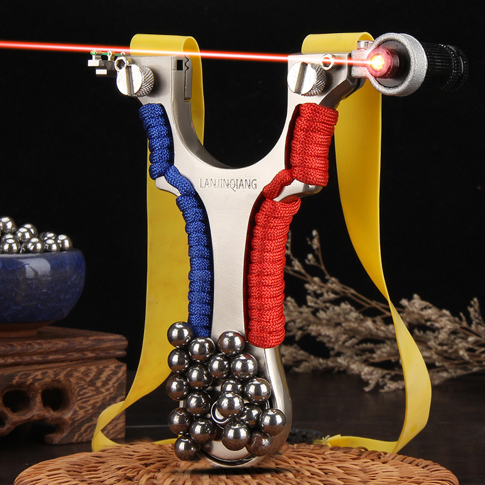 Alloy Steel Laser Slingshot рогаткаInfrared Aiming Catapult With Flat Rubber Band Outdoor High Precision Shooting For Beginners