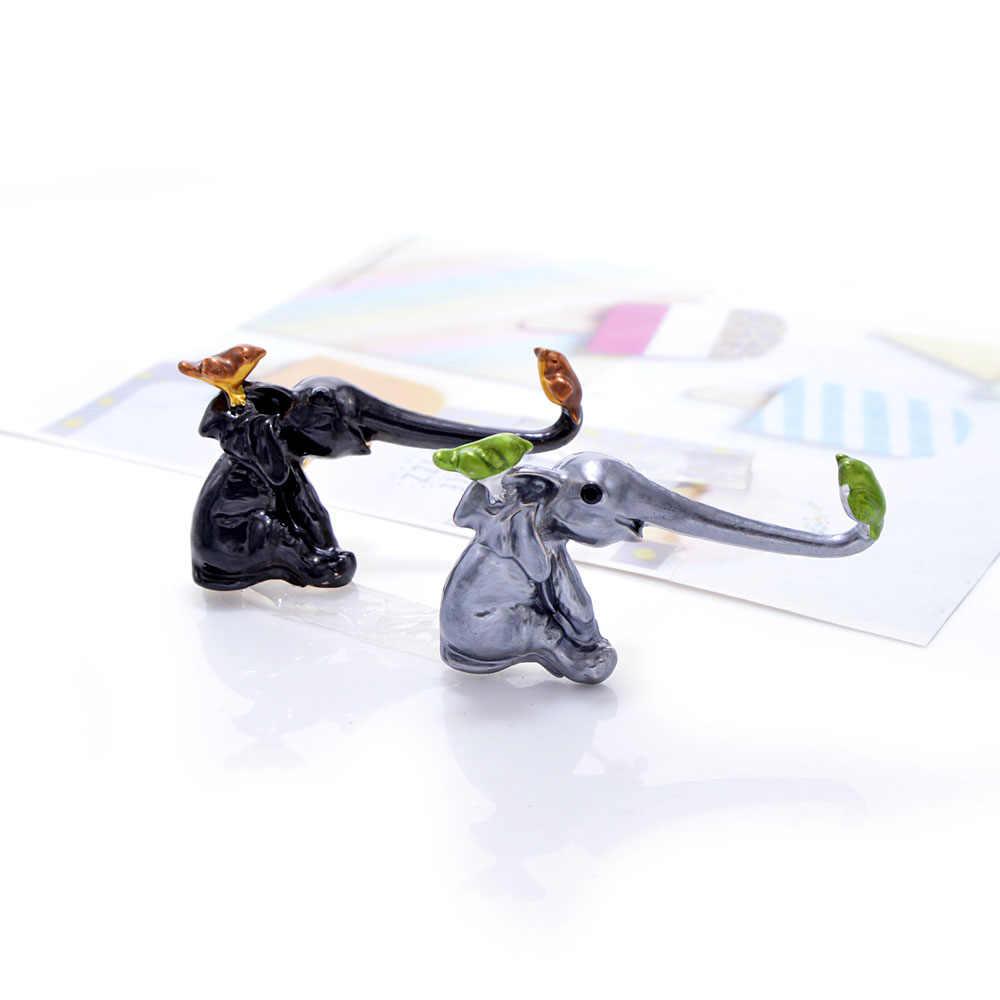 YoungTulip 3 色選択エナメル象と鳥形状ユニセックスブローチ新デザインのギフトフレンド高品質動物ブローチ