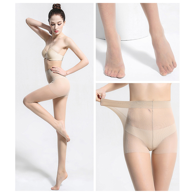 Ladies 5D Tear Resistant Nylon Pantyhose Women Summer Sexy Breathable Elastic Tights Slim Stockings High Waist Sun Protection 1