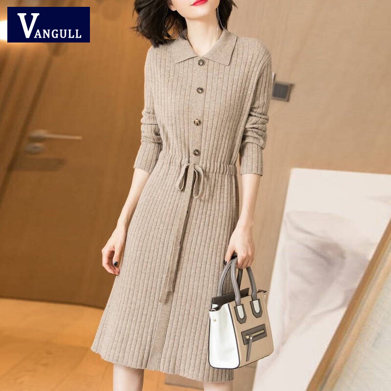 Vangull Women Knitted Dresses Solid Female Long Sleeve Dress 2019 New Autumn Winter Turn-down Collar Button Solid Slim Dresses 45