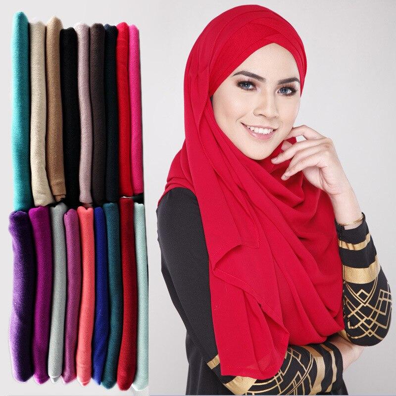 2019 Muslim Women Jersey Scarf Hijab Islamic Soild Cotton Headscarf Foulard Femme Musulmanhead Arab Head Wrap Scarves Foulard