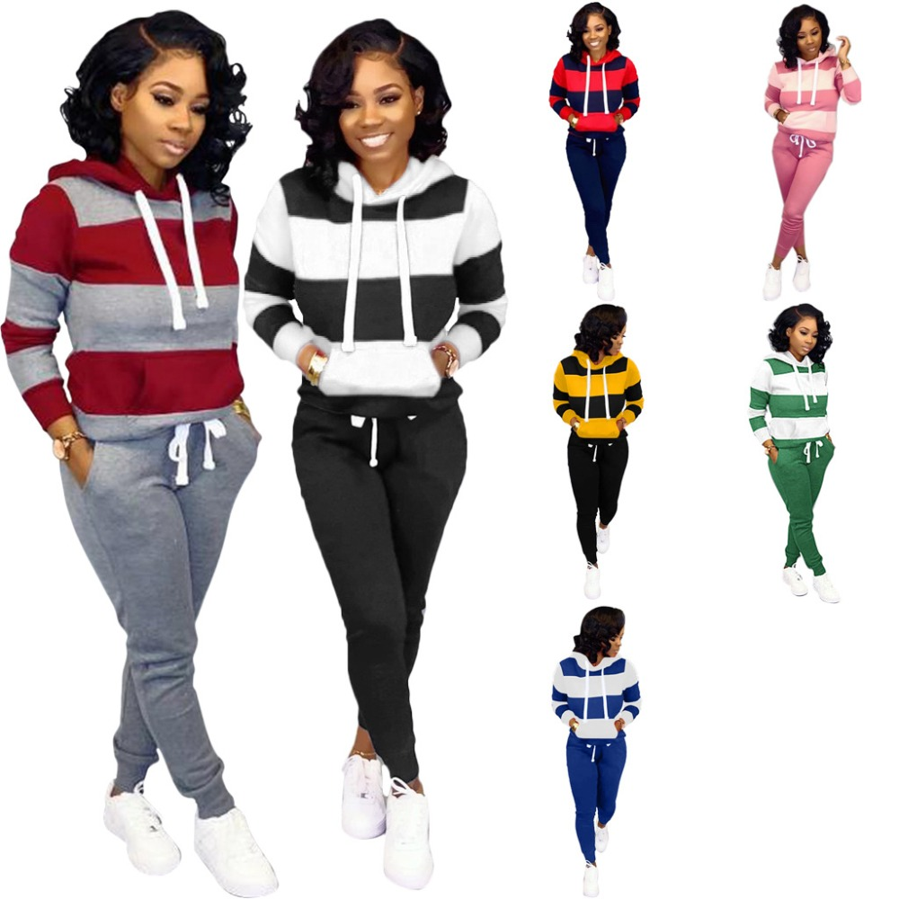 WinterThick And Fluffy  Women's Set Tracksuit Full Sleeve Hoodied Sweatshirt Pockets Pants Suit Two Piece Set Outfits Sweatsuit