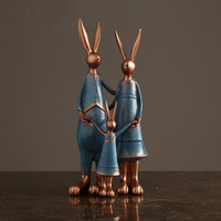 Creative A Family Of Three Bunny Decor Home Decorations Family Living Room TV Wine Cabinet Art Decoration Wedding Gift M2448