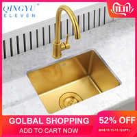 Gold Küche Waschbecken Nanometer Technologie Gold 4mm dicke 304 Edelstahl Manuelle Waschbecken Einzigen Theke Küche Waschbecken