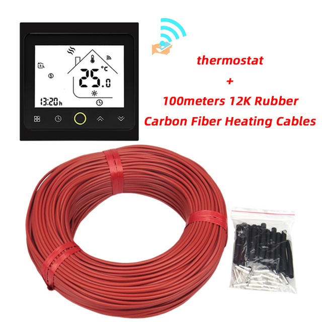 100m Can shipped from Russian Ukraine Poland 12K Silicone Rubber Infrared Carbon Fiber Electric Warm Floor Heating Cable 33ohm
