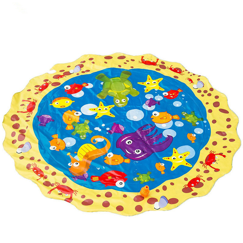 Kids Sprinkler Play Pad Mat Outdoor Lawn Beach Sea Animal Inflatable Water Spray Water Games Beach Mat Cushion Activity Toys