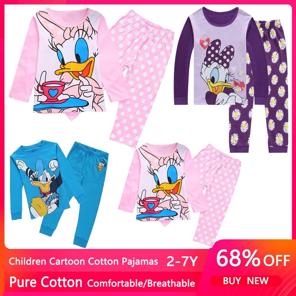 Spring Autumn Daisy Duck Kids Girls Clothes Baby Pure Cotton Pajamas Long Sleeved Cartoon Children's Sleepwear