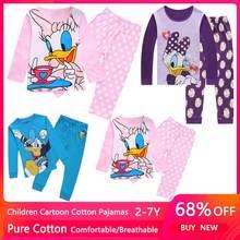 Primavera outono margarida pato crianças roupas das meninas do bebê puro algodão pijamas de manga comprida dos desenhos animados pijamas das crianças