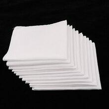 Хлопок квадратный Супер Мягкий моющийся носовой платок 10 шт мужские белые носовые платки Женские Детские классические носовые платки