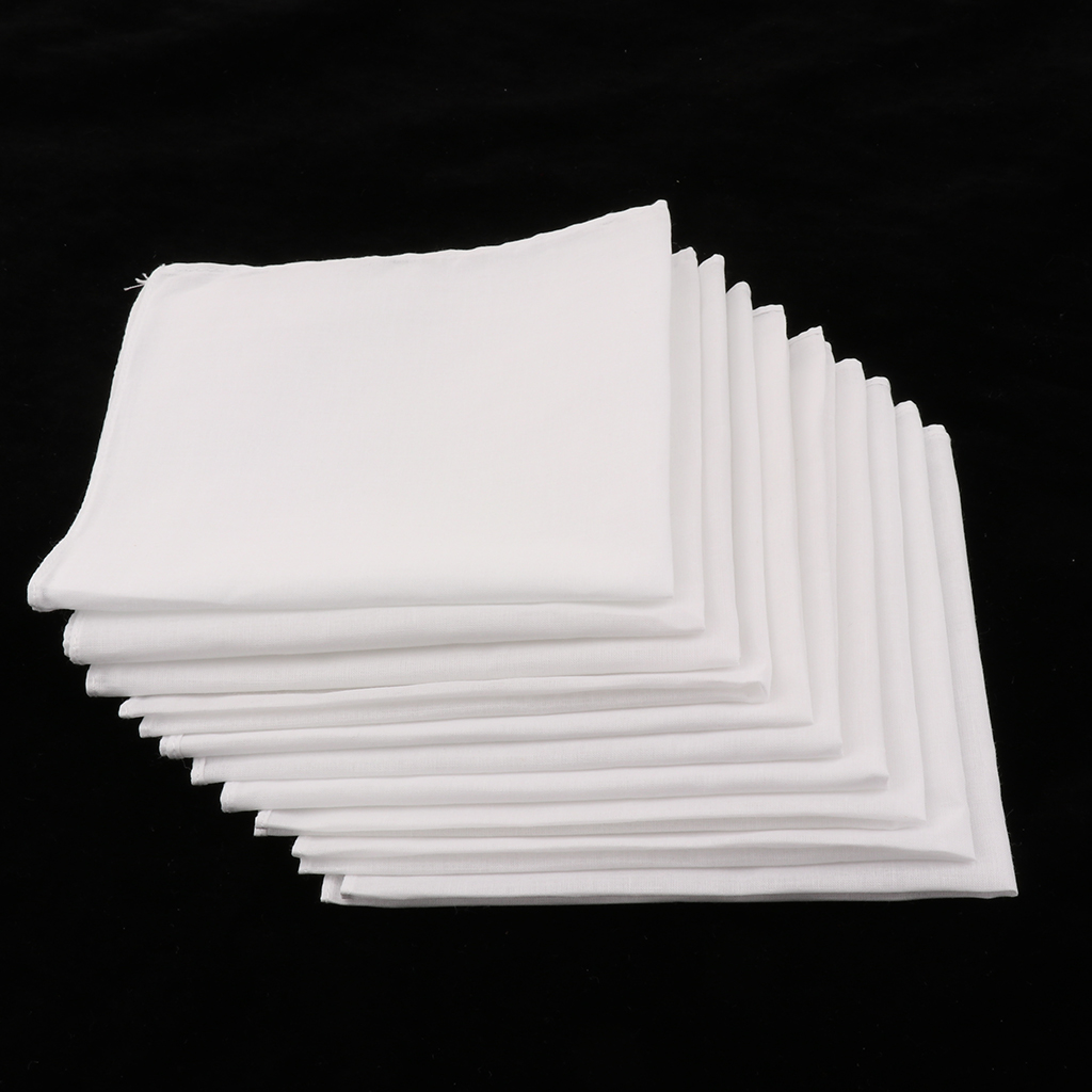 100% Cotton Square Super Soft Washable Hanky 10pcs Mens White Handkerchiefs Women Kids Classic Handkerchief