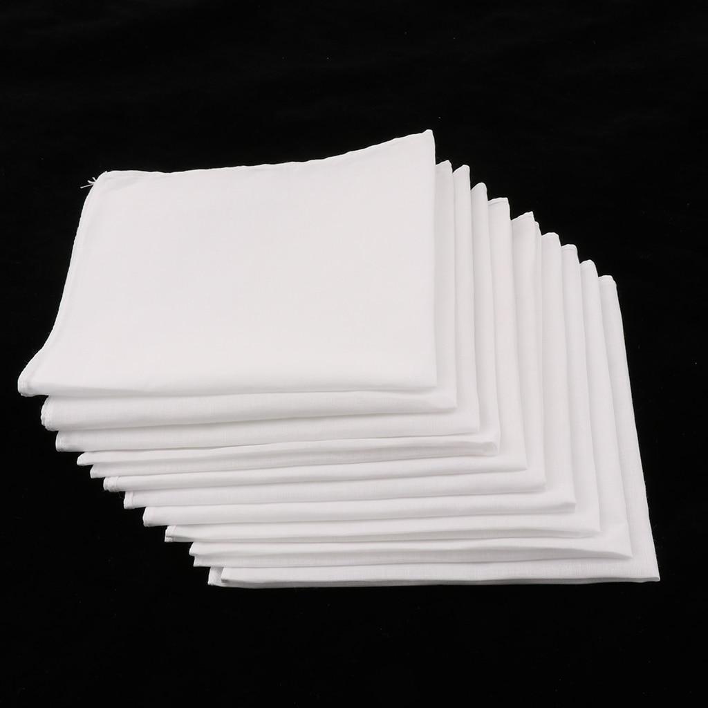 100% Cotton Square Super Soft Washable Hanky 10pcs Mens White Handkerchiefs Women Kids Classic Handkerchief