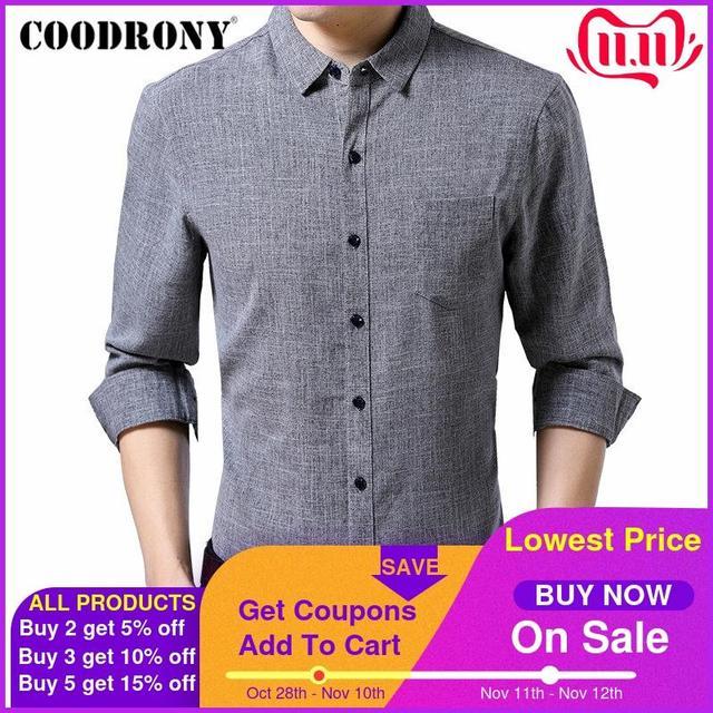 COODRONY ماركة الرجال قميص الأعمال قمصان غير رسمية الخريف طويلة الأكمام القطن قميص الرجال الملابس Camisa الذكور مع جيب 96093