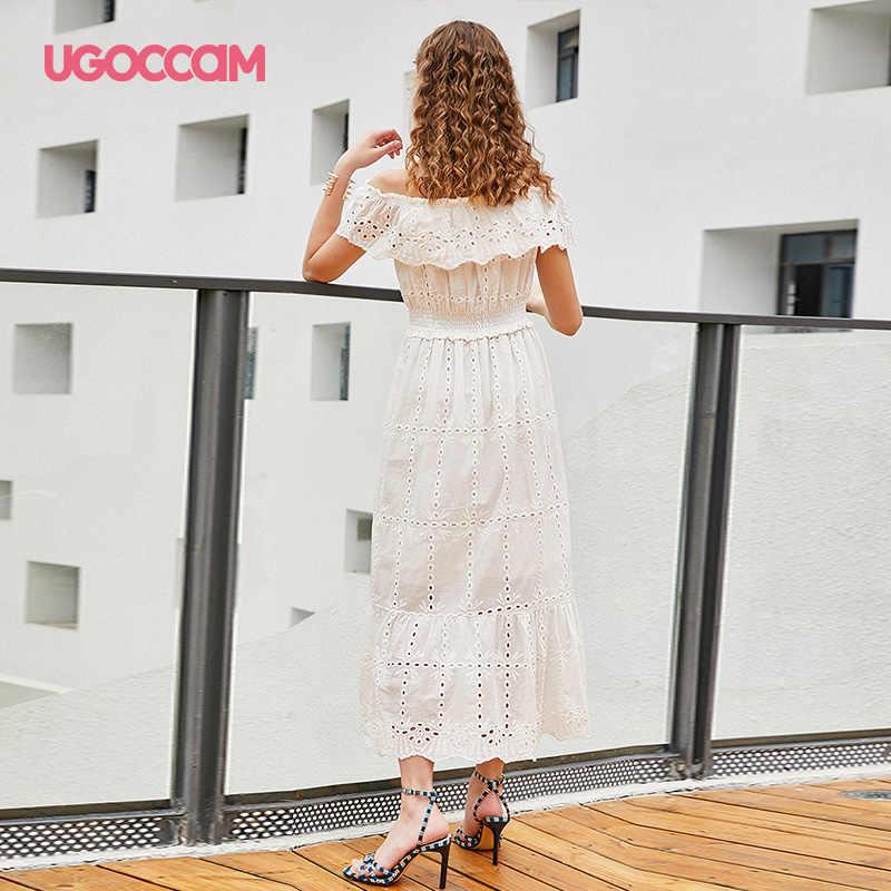 UGOCCAM לבן שמלה לבן פרפר מכתף כותנה לפרוע לעטוף נשים סתיו בוהמי סקסי חלול החוצה גבוהה מותן שמלה