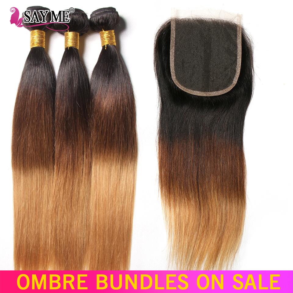 SAY ME 3 Tone Ombre Straight Human Hair Bundles With Closure 1B/4/27 30 Peruvian Hair Bundles With 4*4 Lace Closure Remy Weave-in 3/4 Bundles with Closure from Hair Extensions & Wigs