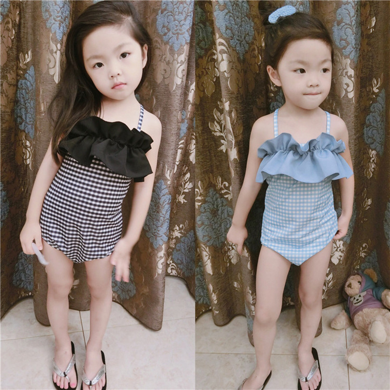 Flounced GIRL'S One-piece Swimming Suit South Korea Classic Small Plaid CHILDREN'S Swimwear With Swim Cap Hot Springs Swimwear S