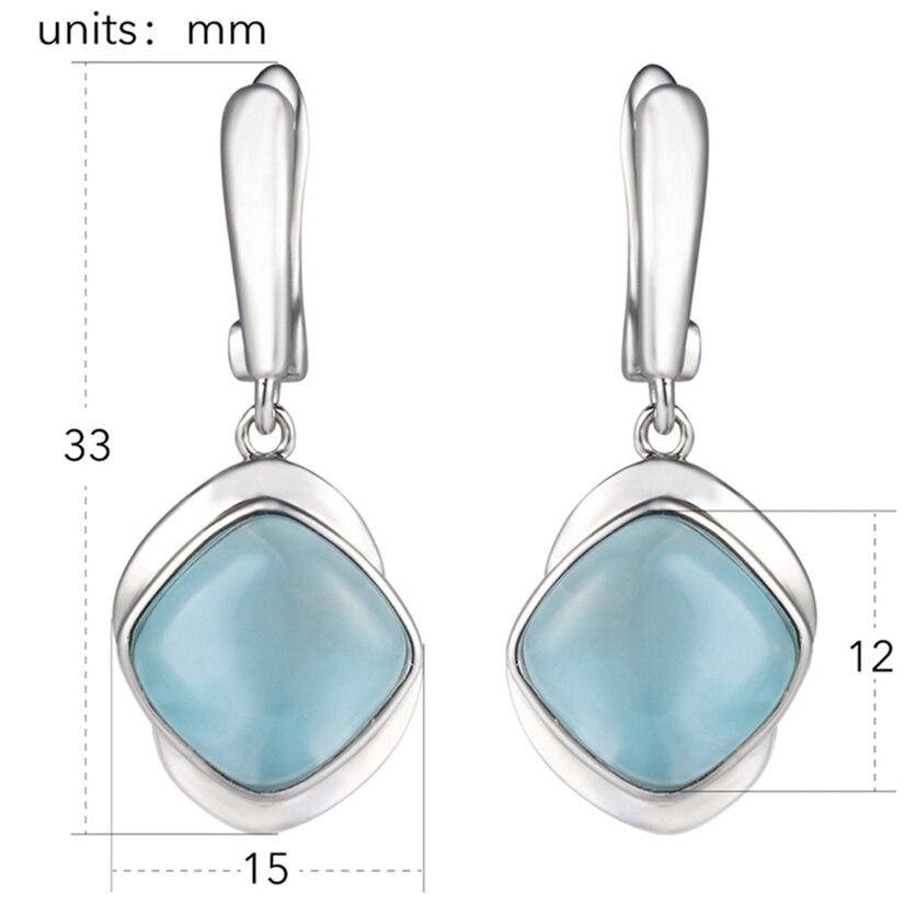 Eulonvan 925 argent sterling Larimar boucles d'oreilles en pierre naturelle cadeaux de noël pour les femmes bijoux et accessoires livraison directe S-3805 - 3