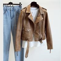 Куртка женская кожаная короткая в панк стиле демисезонная с длинным рукавом и поясом 1
