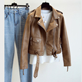 Neue Frauen Leder Mantel Frühling Herbst Lange Ärmeln Mit Gürtel Faux Leder Jacke Weibliche Punk Outwear Damen Biker Moto Outwear
