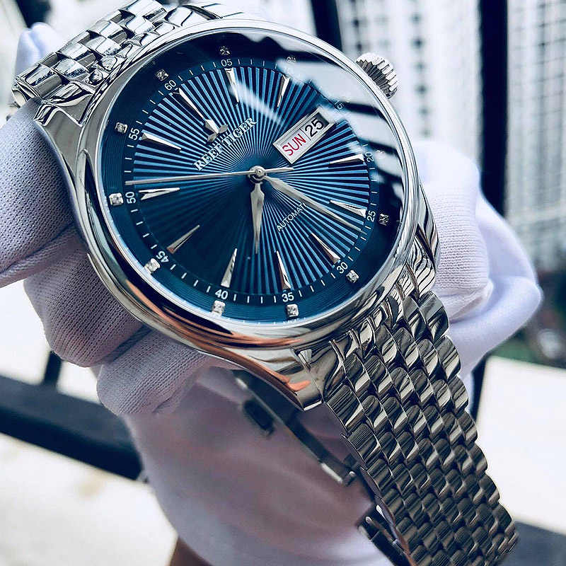 2019 Recife Tigre/RT Mens Dress Watch Completa Aço Inoxidável Blue Dial Automatic Relógios de Pulso com Data Dia RGA8232