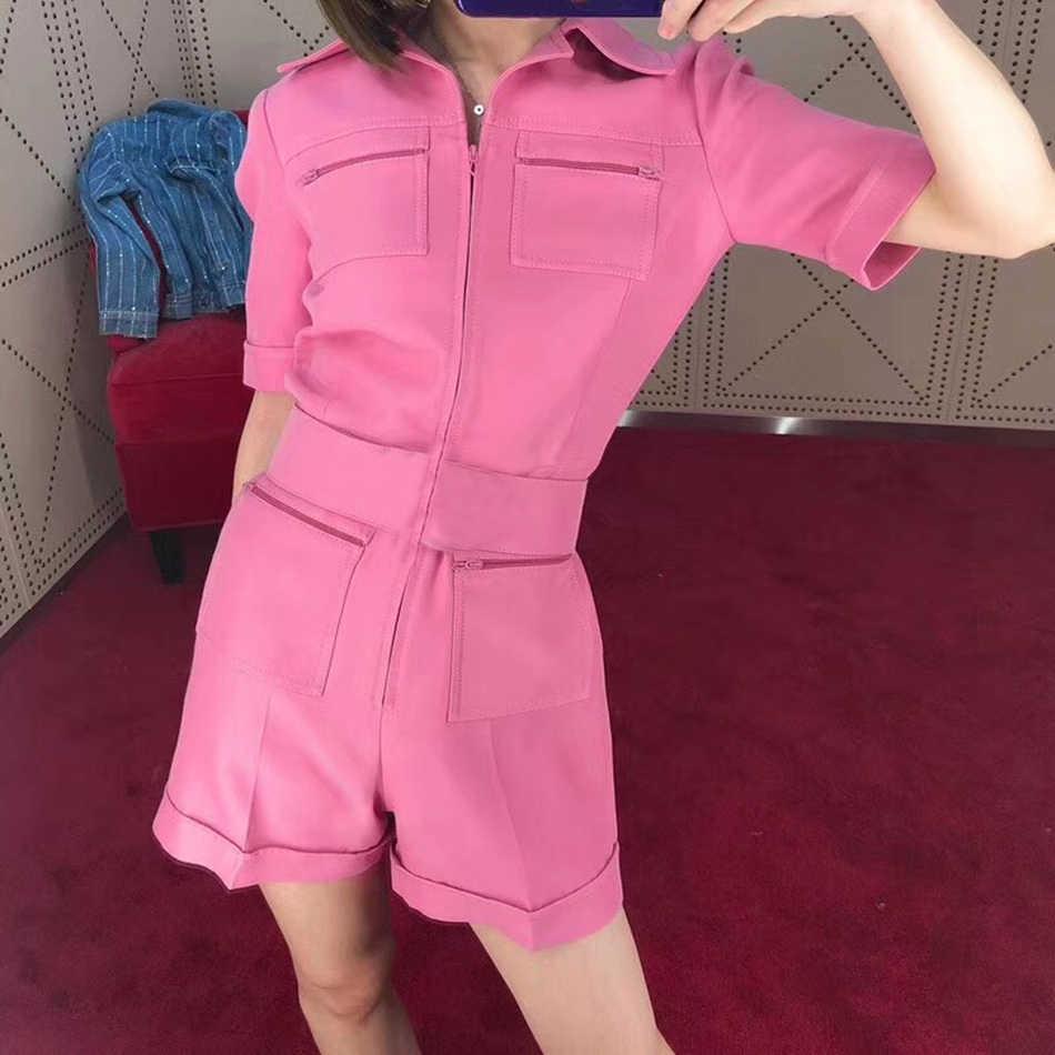 2020 봄 새로운 여성의 짧은 소매 패션 멀티 포켓 디자인은 얇은 벨트 점프 슈트 핑크 그린 Bodycon 클럽 파티 점프 슈트
