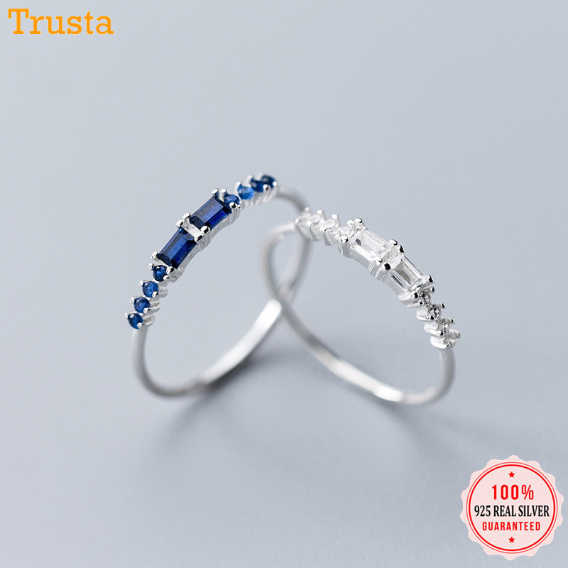 Trustdavis Genuine 925 Sterling Silver White Blue Cubic Zirconia Finger Size 6 7 8 Ring For Women Silver 925 Jewelry Gift DA449