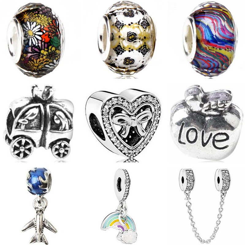 Charms Jewelry Safety-Chain Heart-Beads Car Women Elephant Original Pandora Fit for DIY
