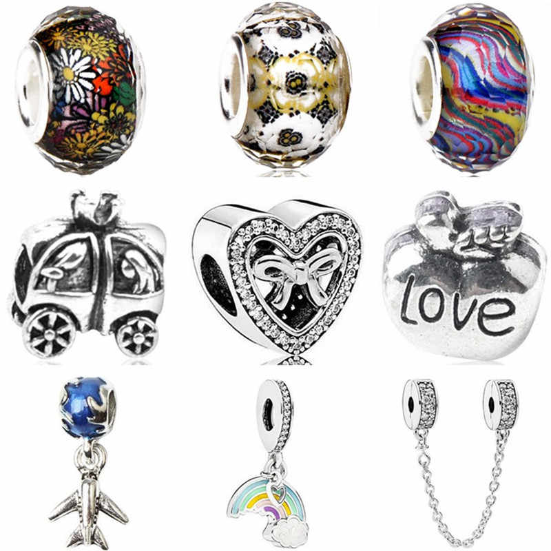 Vintage Luxurious Elephant Rainbow Car Feather Bow Safety Chain Heart Beads Fit Original Pandora Charms for Women DIY  Jewelry