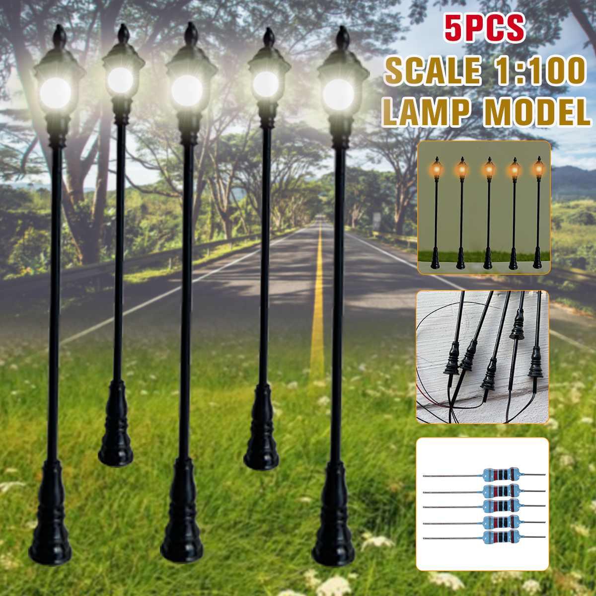 10Pcs Railways Train Models LED Lights Park Garden Lamp Post 1:100 HO Scale