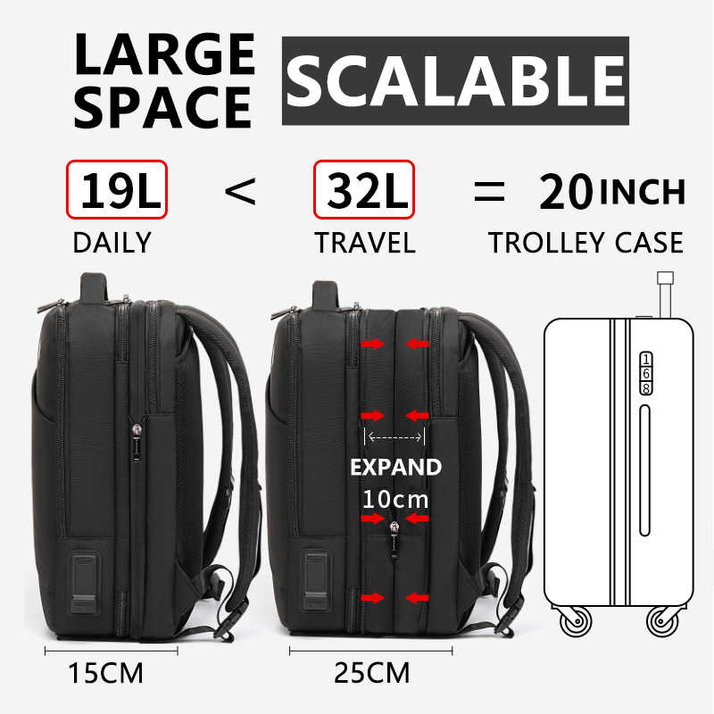 Рюкзак для мужчин с полярным охотником, подходит для 17 дюймов, для ноутбука, USB, для подзарядки, многослойный, высокая емкость, для путешествий, мужская сумка, рюкзаки
