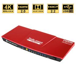 Interruptor KVM HDMI USB2.0 4 puertos interruptor kvm interruptor hdmi 4K @ 60Hz control 4 Soporte para PC Unix/Windows/Debian Extra USB2.0