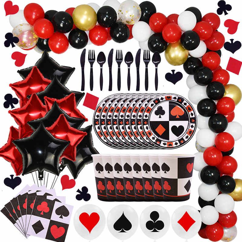 Czarne czerwone serce Poker impreza tematyczna pokaz magii kasyno Poker Party Decoration Kids Birthday Party jednorazowe zastawy stołowe