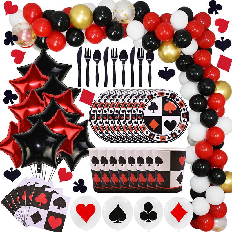 Preto vermelho coração poker festa temática magia mostrar casino poker festa decoração crianças festa de aniversário artigos de mesa descartáveis