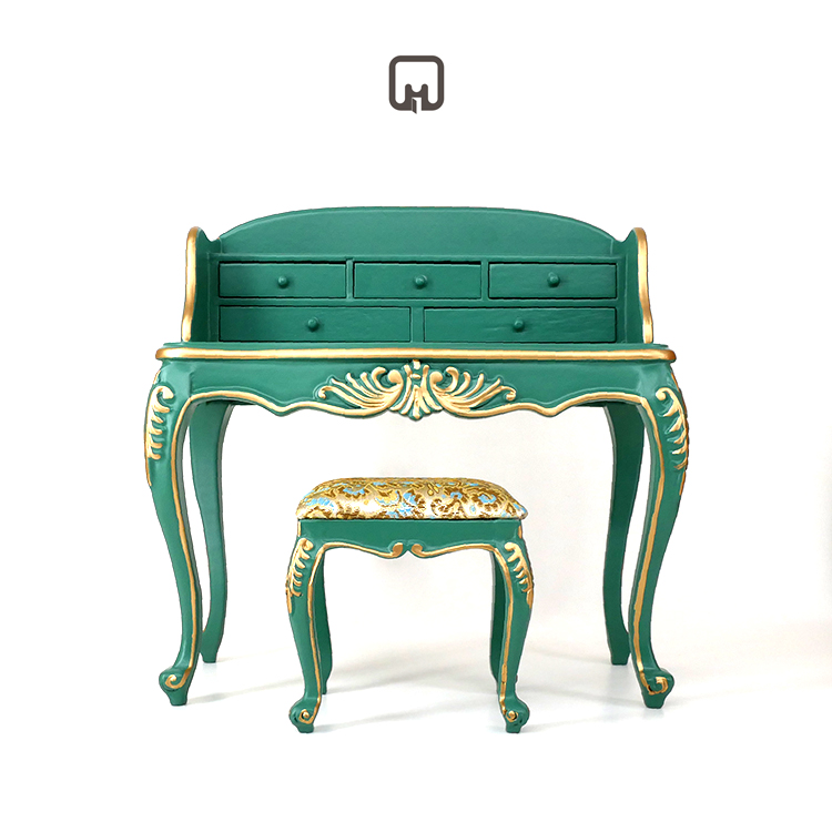 1:6 Doll House Furniture High-end Hand-carved Gold Retro Court Luxury Dressing Table Dressing Table Desk