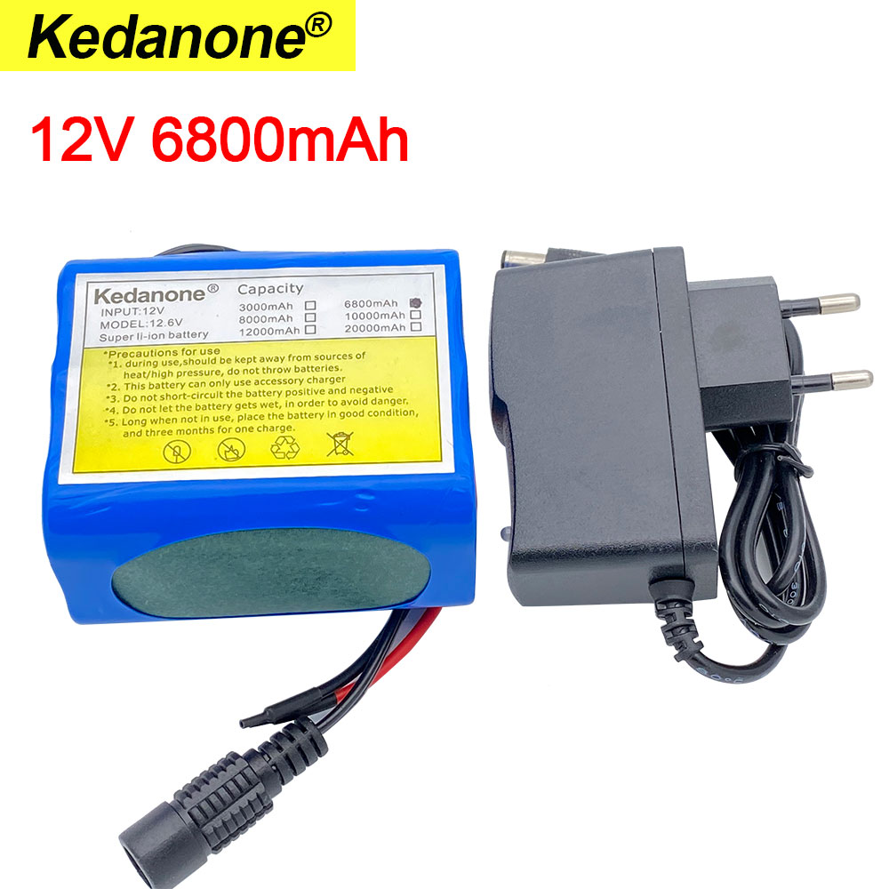 12V 6800mah battery 18650 Li-ion 6.8 Ah Rechargeable batteries  with BMS Lithium Battery packs Protection Board +12.6V Charger 1