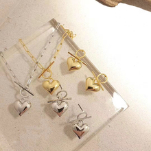 Necklace Earrings Jewelry-Set Pendant Lovely Fashion Charm Metal Heart Valentine's-Day-Gift