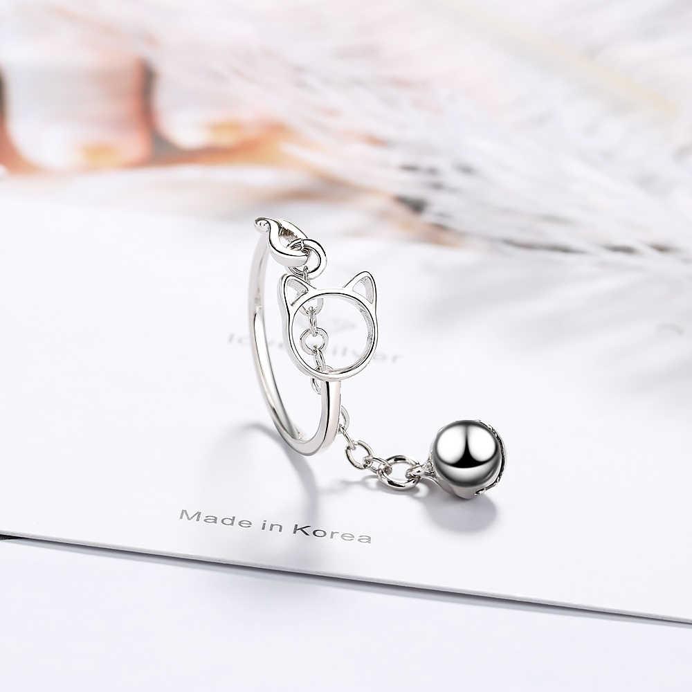 2019 neue Nette Katze Ring Mit Glocke Anhänger 925 Sterling Silber Einstellbare Tier Ring Für Mädchen Mode Schmuck S-R230