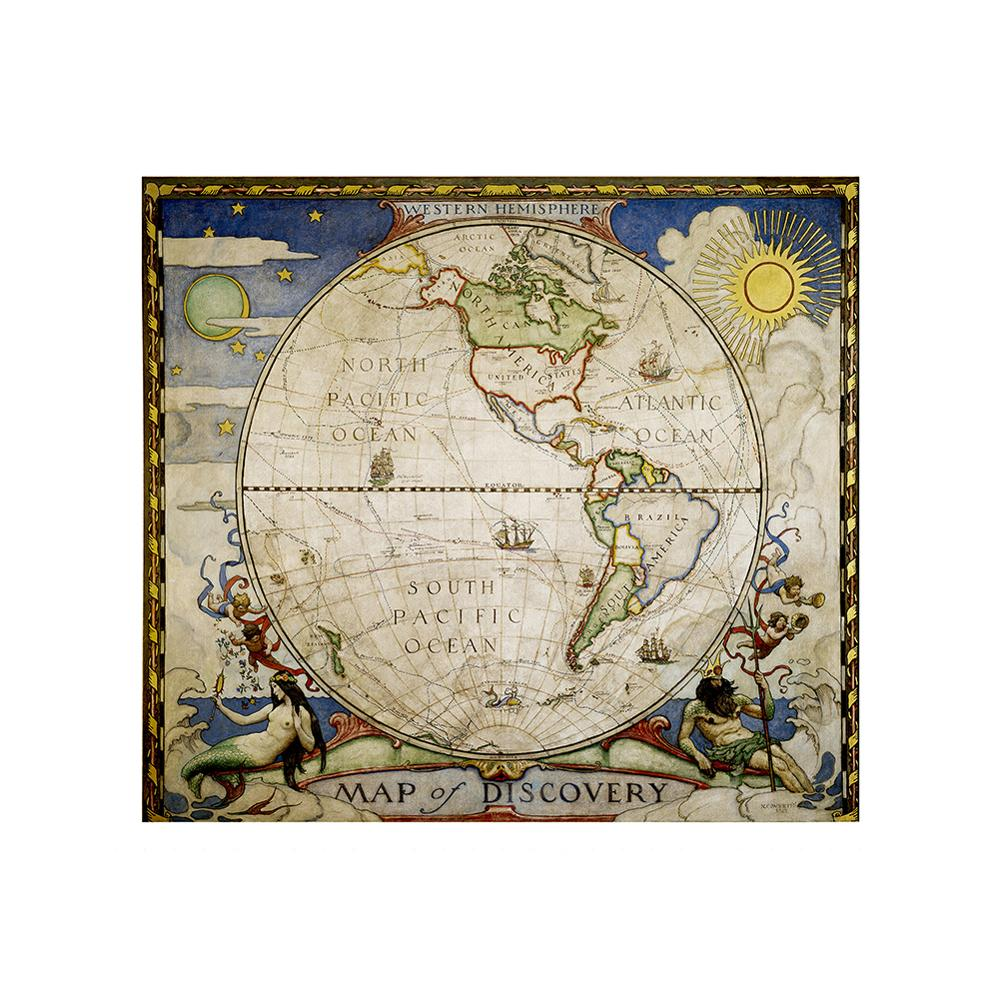 Medieval Style Decorative Map 90x90cm Simple Non-woven No-fading World Map For Kids And Children