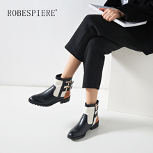 ROBESPIERE Ankle Boots For Women Quality Genuine Leather Mixed Colors Shoes Woman Fashion Buckle Zipper Large Size B74