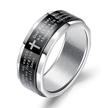 NEW Simple fashion style ring black cross 8MM English Bible scripture titanium steel street boys jewelry gift VR587
