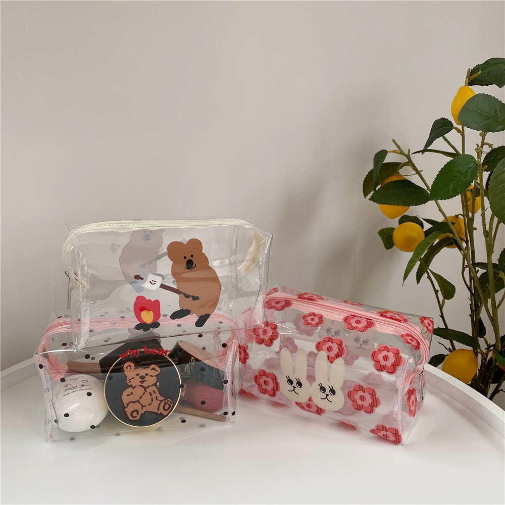 Ins Cartoon Bear Polka Dot Pencil Case Transparent PVC Portable Large Capacity Cute Simple Cosmetic Storage Bag School Supplies