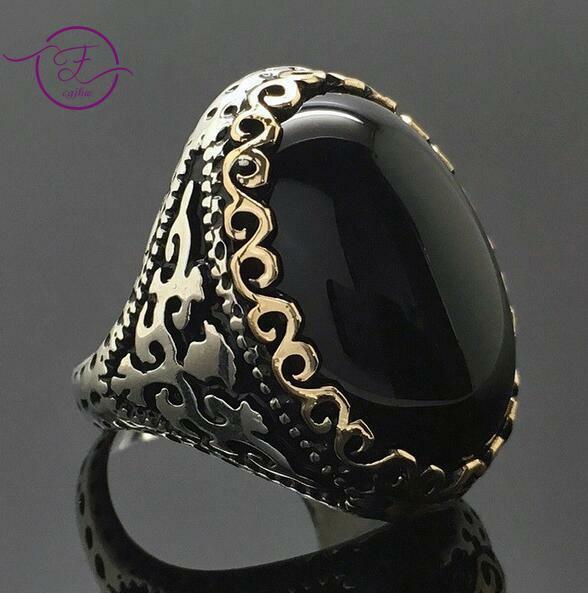 Vintage 925 Silver Ring Black Onyx AAA Zircon Gemstone Wedding Engagement Ring For Women Men Gift