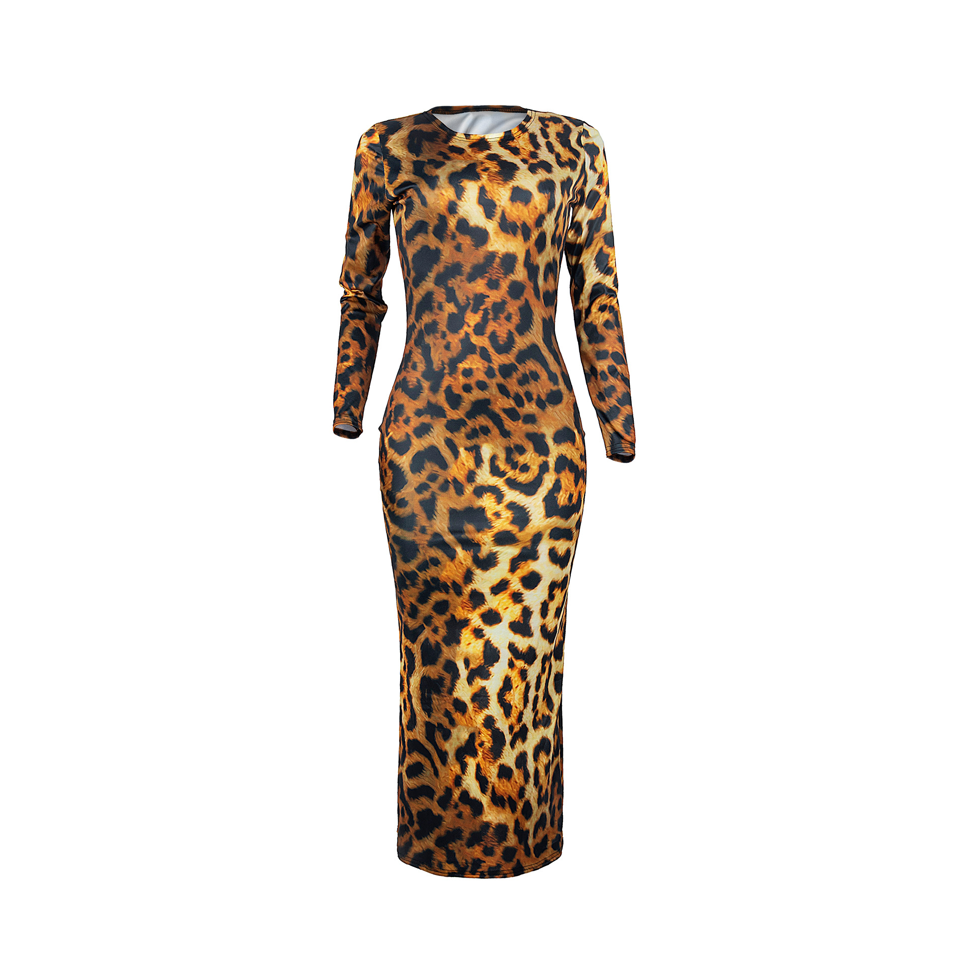 H33b20a00d72445b8866861f356adfca9o - Women Leopard Long Sleeve Dress Evening Party Dresses  Autumn Winter Bodycon Ankle-Length Slim Elegant High Waist  Plus Size