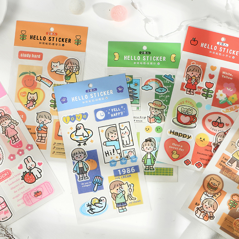 Mohamm 2 Pcs/pack Kawaii Cartoon Mini Korea Sticker Flakes Scrapbook Paper Sticker Stationery Accessories School Supplies