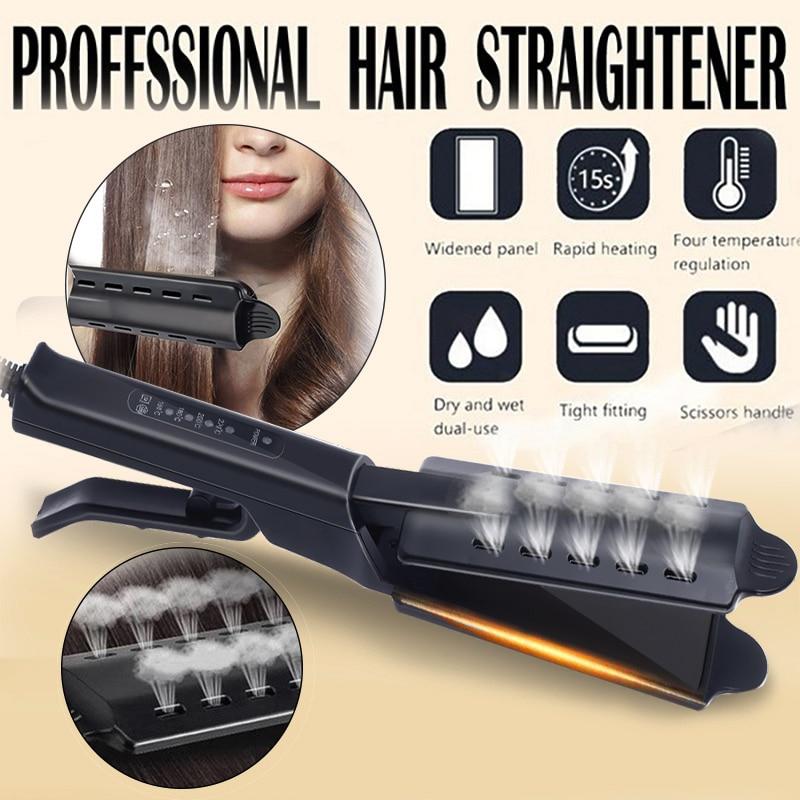 Hair Straightener Four-gear Temperature Adjust Hair Flat Iron Professional Electronic Hair Straightening Steam Ceramic Vapor