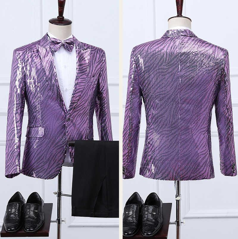 3pcs Purple Sequin Dress Suits Stylish One Button Peak Laple Tuxedo Suit Men Nightclub Stage Party Wedding Prom Terno Masculino