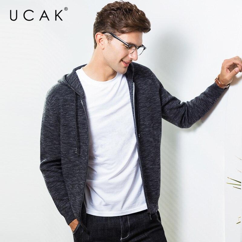 UCAK Brand Sweater Men Cotton Knitwear Zipper Hooded Coat Men 2019 New Arrival Autumn Winter Thick Warm Cardigan Men Coats U1008